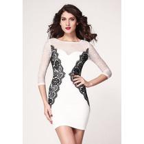 Vestido De Encaje Blanco Y Negro Elegante Importado En Stock