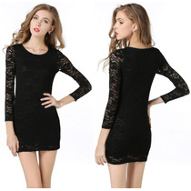 Vestido Elegante De Encaje Negro Importado Nuevo En Stock