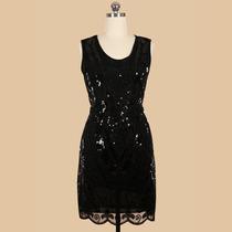Vestido Fiesta Negro Con Lentejuelas Talla M Stock Elle851