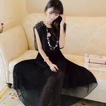 Vestido De Gasa Con Perlas Talla S Nuevo En Stock Elle851