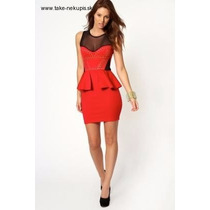 Vestido Rojo Con Trasparencias Y Tachas Doradas
