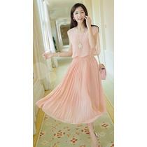Vestido De Gasa Con Perlas Talla S Importado Stock Elle851