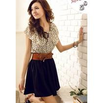 Vestido Moda Asiática Modelo Puntos (cinturón Incluido)