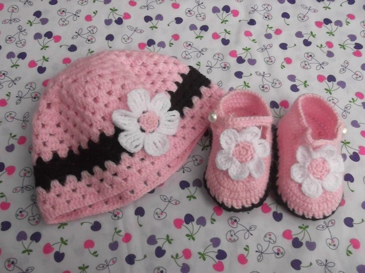 Zapatitos Y Gorritos En Juego Tejidos A Crochet Para Bebe ...