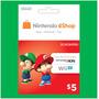 Nintendo Eshop Card $5 Usa- 3ds Wii U - Scheda   SCHEDAPERU